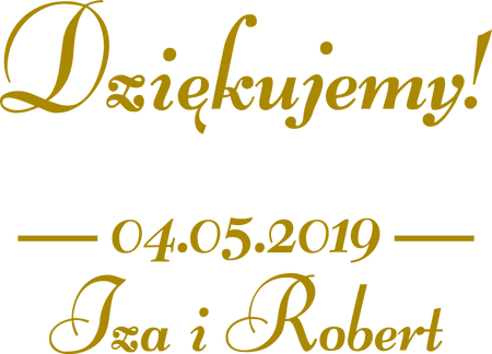naklejka PODZIĘKOWANIA Twoje imiona i data 25x18cm (1)